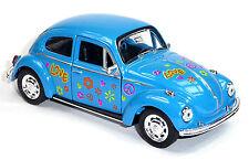 günstig: VW Käfer (1960) Modellauto 1:34 blau 12cm im Hippie-Look der 70er WELLY