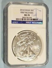 2014 NGC MS70 AMERICAN SILVER EAGLE MS 70 FIRST RELEASE BLUE LABEL MS 70