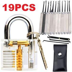 19PCS Practice Lock Kit Padlock Locksmith Unlocking Pick Picking Tool Set AU