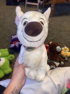 "Disney Store Sitting Bolt Plush White Stuffed Dog Toy Red Collar 12"""