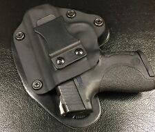 "S&W M&P Shield 9/40 IWB Hybrid Holster, Black Kydex, black leather 1.5"" Belt, RH"