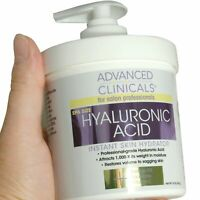 Advanced Clinicals Spa Size Hyaluronic Acid Cream Skin Hydrating 16 Oz (454g)