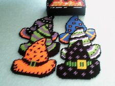 Needlepoint on plastic canvas Set of 6 Halloween Witch Hat Coasters with holder
