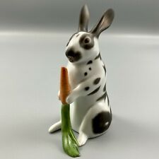 Herend Hungary Hand Painted Rabbit 15862 White Black Carrot 2005 Natural Colors