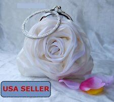 White Satin Rose Soft Rhinestone Clutch Party Wedding Prom Bag Purse Bling
