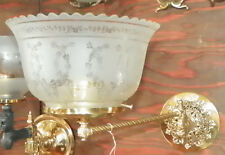 RESTORED ANTIQUE BRASS SWING ARM SCONCE WITH ACID ETCHED SHADE 4833