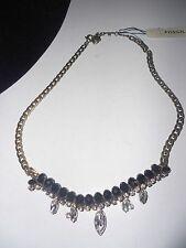 Fossil BRAND Granny Glitz Brass Crystal & Black Beaded Frontal Necklace