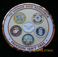 FREEDOM ISN'T FREE CHALLENGE COIN US ARMY MARINES NAVY AIR FORCE USCG PIN UP US
