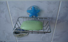 New Chrome Steel Soap Tray / Dish Holder on a Sucker in Bath or Kitchen Sea Star