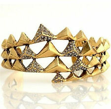 House of Harlow 1960 Pyramid Wrap Gold Cuff with Pave