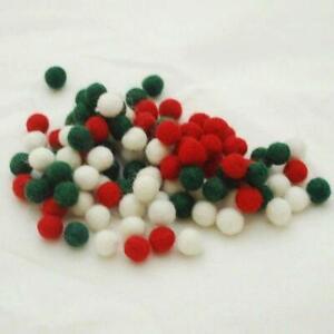 100 Handmade Felt Balls - 1cm -  Christmas Colours