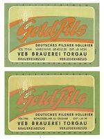 """ALT ! DDR Bieretiketten """"Gold Pils"""" (1 x MDN) VEB Brauerei Torgau Bezirk Leipzig"""