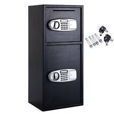 2 Doors Heavy Duty Steel Digital Safe Box Compartments Lock Keypad Deposit Slot