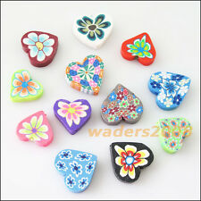10 New Charms Handmade Polymer Fimo Clay Heart Flat Spacer Beads Mixed 20mm