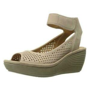 Clarks Women Wedge Heel Ankle Strap Sandals Readly Salene US 10M Sand Leather