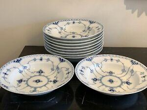 Vintage Royal Copenhagen 10 Blue Fluted Half Lace #659 Large Rim Soup Bowls