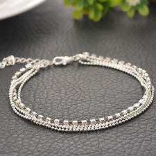Chain Link Adjustable Anklet Beach Party Sexy Silver Alloy Crystal 4 Layer Bead