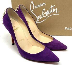 Authentic Christian Louboutin Studs Heels Pumps #36.5 US 6.5 Suede Purple Rank B