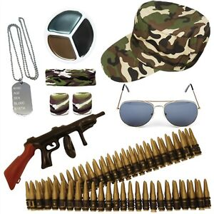 ARMY FANCY DRESS MILITARY CAMO ACCESSORIES MENS LADIES COSTUME STAG HEN PARTY