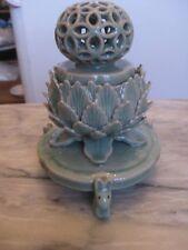 Koro Or Lotus Sculpture Green China Incense Burner