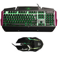 USB LED Light Gaming Keyboard and Mouse Combo Set for PC Computer Gamer Black