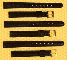 [Lot of 3] 11mm Real Lizard Leather Watch Strap Band BLACK <<NWoT>>
