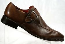 * CERTO * Fatte A Mano Brown Leather Monk Strap Handmade  Loafers UK 10 - US 11
