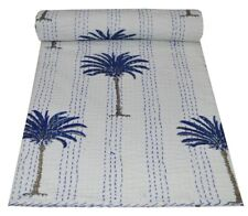 Indian Handmade Quilt Palm Tree Kantha Bedspread Throw Cotton Blanket King Size
