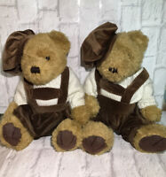 "Bundle X 2 WM Waite Collectors Teddy Bears In Overalls / Uniforms 13"" Cute Plush"