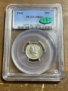 1942 PR66 Mercury Dime PCGS PR 66 CAC Proof