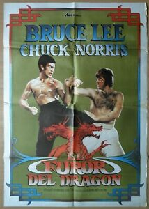 The Way of the Dragon ORIGINAL Spanish '83 POSTER Bruce Lee vs Chuck Norris art
