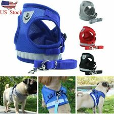 Small Medium Dog Nylon Mesh Harness Puppy Lead Leash Vest For Outdoor Walking US