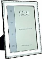 """CARRS - Sterling Silver Photo Frame Bead Design Wood Back - 8"""" x 6"""""""