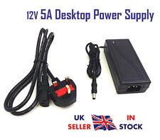 12V 5A AC DC Alimentazione PSU Adattatore Caricabatterie UK Plug 60W Trasformatore 5 AMP