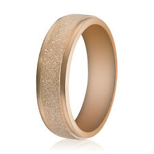 Men Women Wedding Band Ring Rose Gold Silver Frosted 361L Stainless Steel Sz7-10