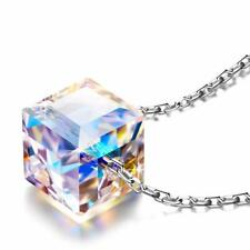 Swarovski Elements Crystal Cube Halo Pendant Necklace 18K White Gold Authentic
