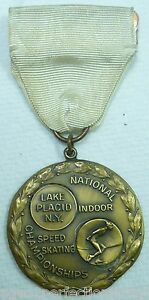 1950s NATIONAL INDOOR SPEED SKATING Championship Medallion LAKE PLACID NY