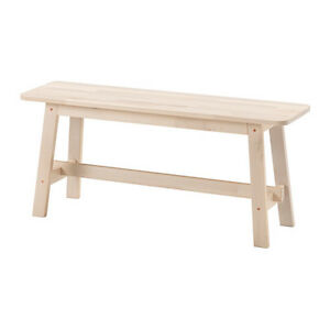 Ikea NORRAKER Solid Wood White Birch Bench,Multipurpose use,Round Corners,NEW