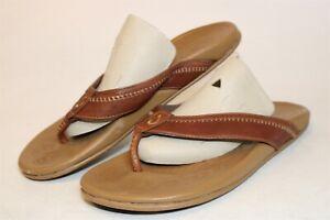 OluKai Mens 13 46 Hiapo Brown Leather Sandals Flip Flops Shoes