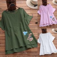 Women Linen Cotton Floral Embroidery T-Shirt Blouse Casual Summer Shirt Tops Tee