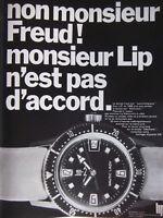 PUBLICITÉ DE PRESSE 1968 NON MONSIEUR FREUD ! LIP N'EST PAS D'ACCORD