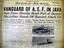 1942 WW II Zeitung Japan Angriffe Australien bei australischen Port Darwin