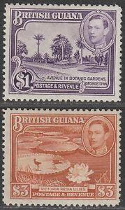 British Guiana KGVI 1938 King George VI $1, $3 Perf 12½ Mint SG317 SG319 cat £66