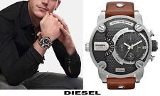 DIESEL DZ7264 LITTLE DADDY Chronograph Silver Brown Leather Strap Men's Watch