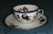 Thomas Bavaria Demi-Tasse Cup & Saucer Black/Blue Flowers Pink