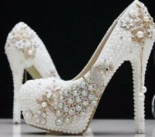 Women Handmade wedding Bridal Party Pearls Crystal Platform High Heels Shoes
