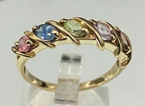9k solid gold W/ Multi Color Sapphire ring 3.65g size U -  10 1/4