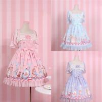 Alice in Wonderland Lolita Princess Dress Girl Cute Lace Suspender Skirt Summer
