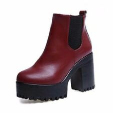 US Winter Women Leather Chunky Shoes Ankle Platform Zipper Block Heel Boots