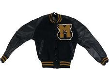 Vintage Womens S Varsity Letterman Jacket Coat Letter M Big Black Yellow Leather